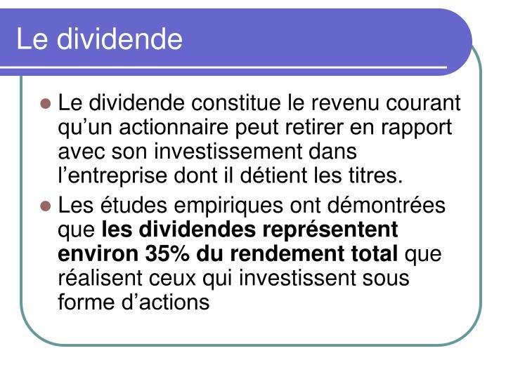 Le dividende
