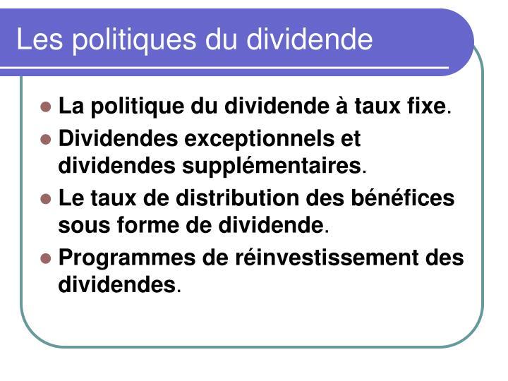 Les politiques du dividende
