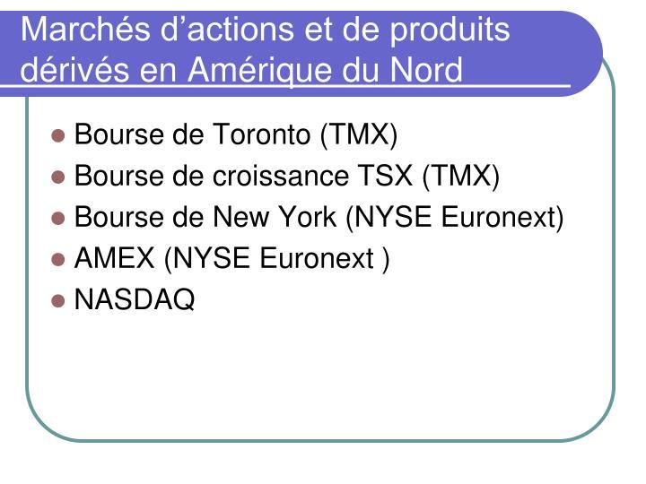 Marchés d'actions et de produits dérivés en Amérique du Nord