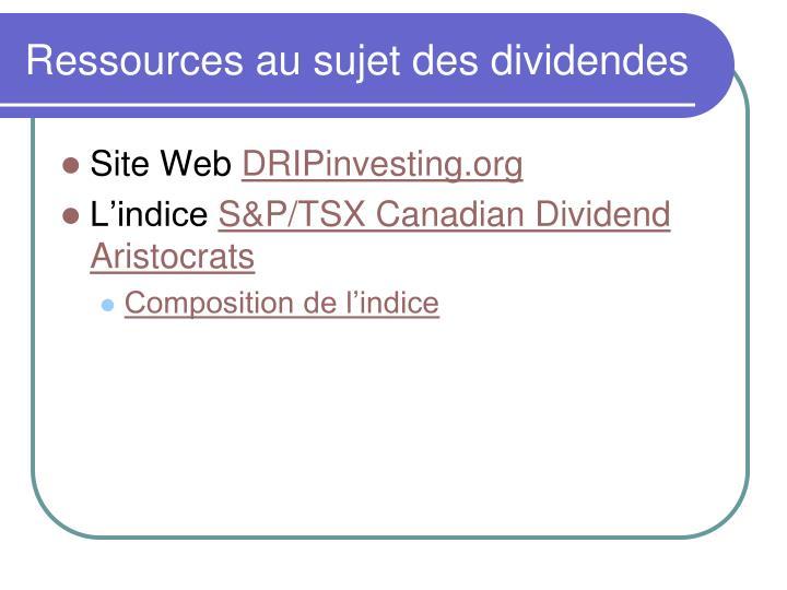 Ressources au sujet des dividendes