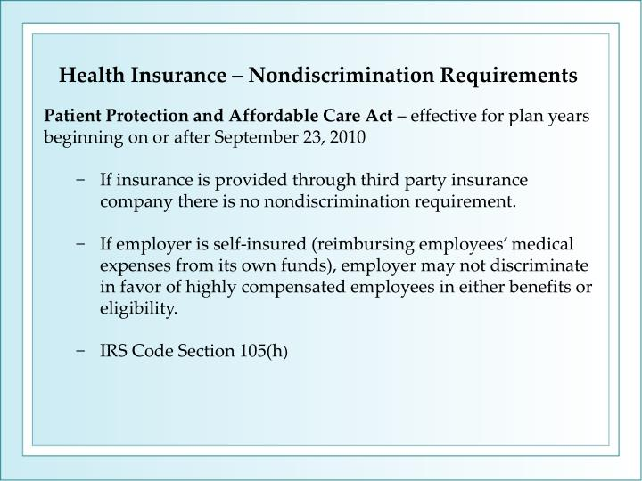 Health Insurance – Nondiscrimination Requirements