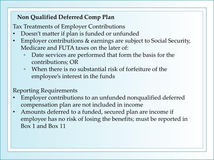 Non Qualified Deferred Comp Plan