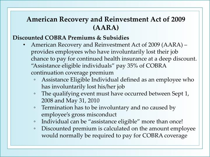 American Recovery and Reinvestment Act of 2009 (AARA)