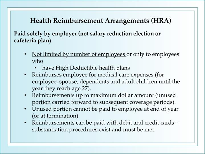 Health Reimbursement Arrangements (HRA)