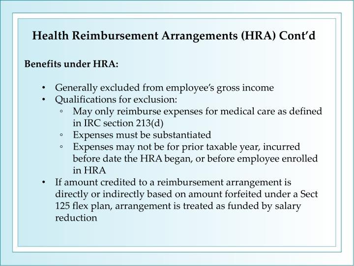 Health Reimbursement Arrangements (HRA) Cont'd