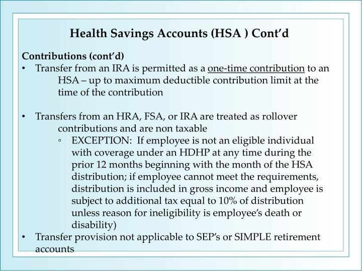 Health Savings Accounts (HSA ) Cont'd
