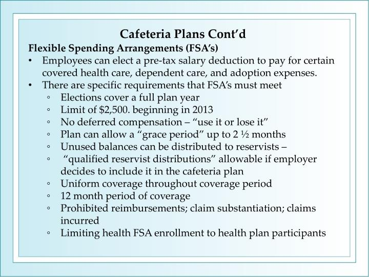 Cafeteria Plans Cont'd