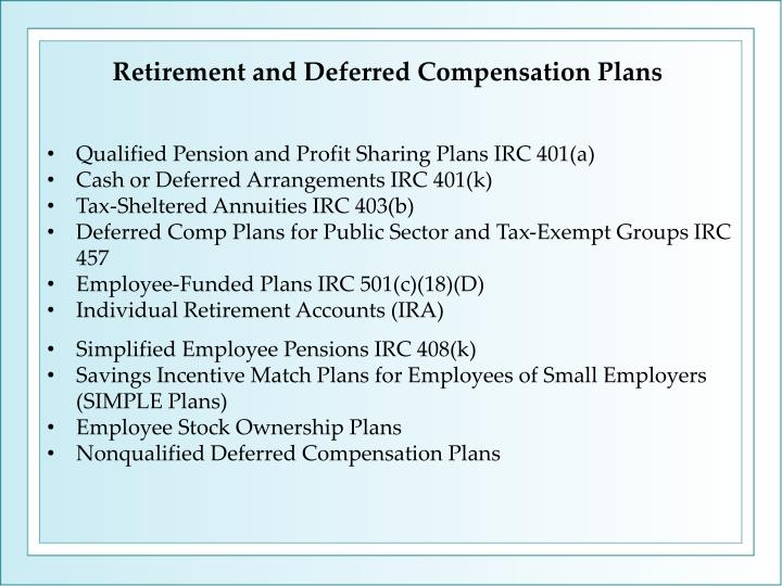 Retirement and Deferred Compensation Plans