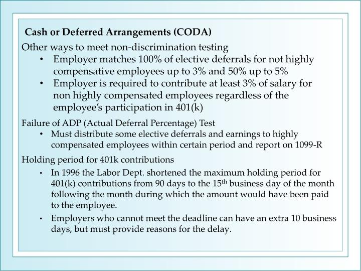 Cash or Deferred Arrangements (CODA)