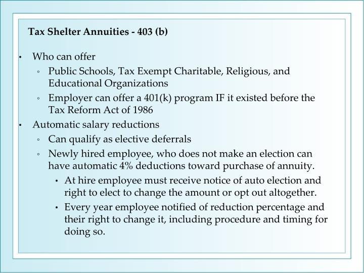 Tax Shelter Annuities - 403 (b)