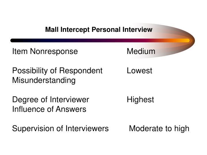 Mall Intercept Personal Interview