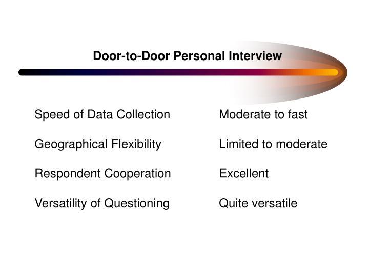 Door-to-Door Personal Interview
