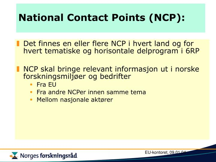 National Contact Points (NCP):