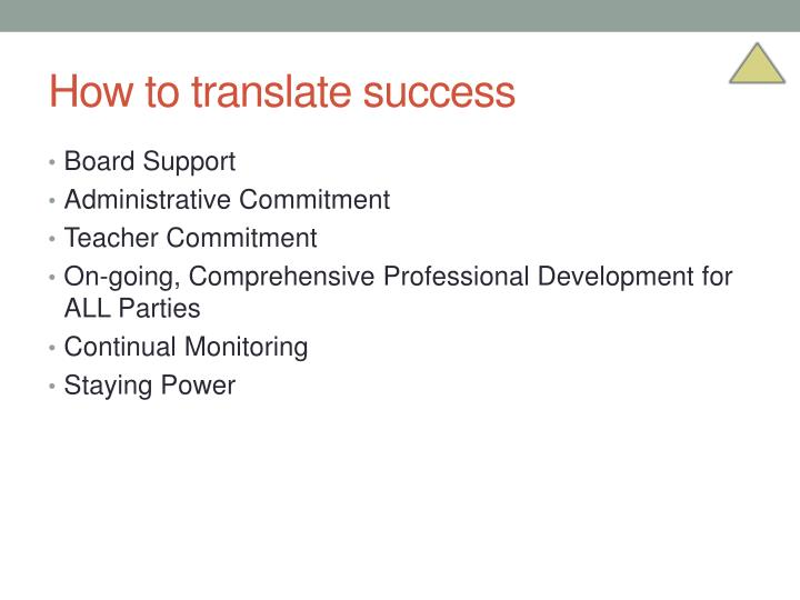 How to translate success