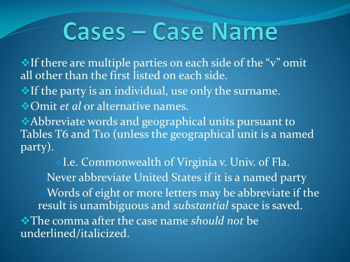Cases – Case Name
