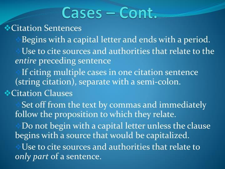 Cases – Cont.