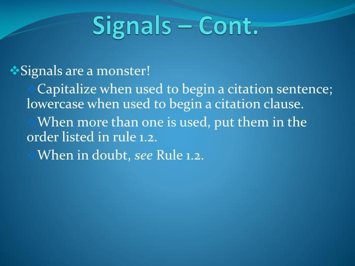 Signals – Cont.