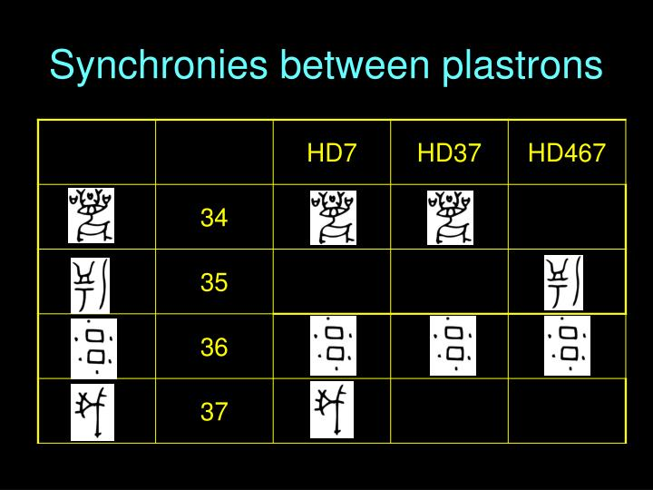 Synchronies between plastrons