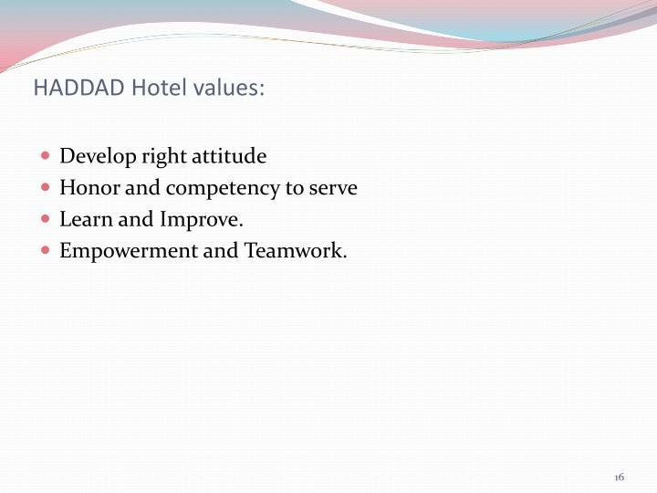HADDAD Hotel values: