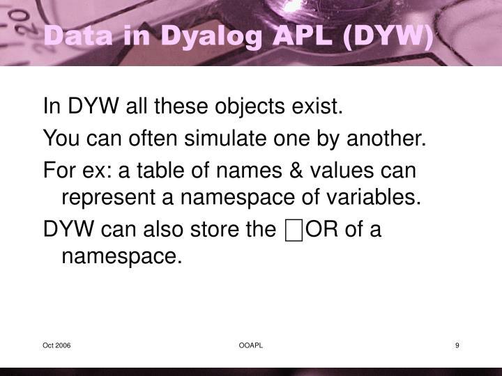 Data in Dyalog APL (DYW)