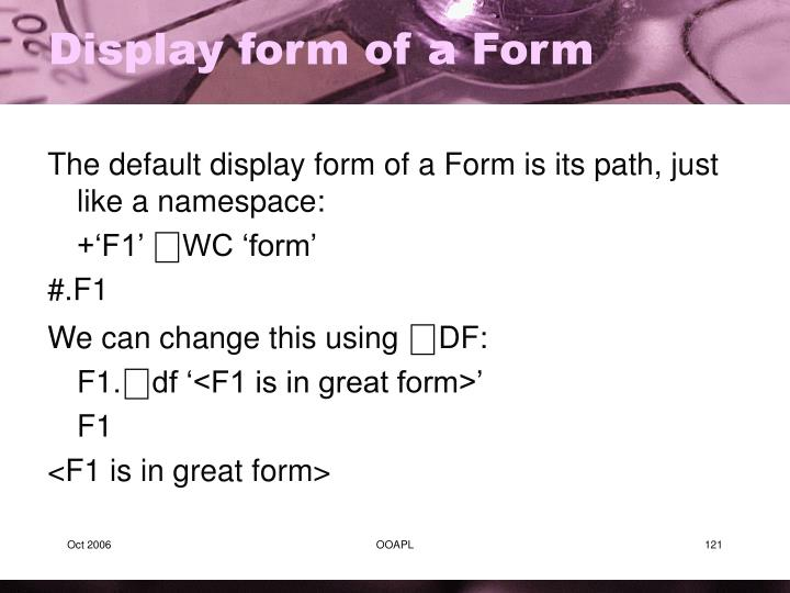 Display form of a Form