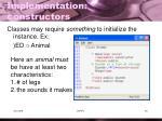 implementation constructors