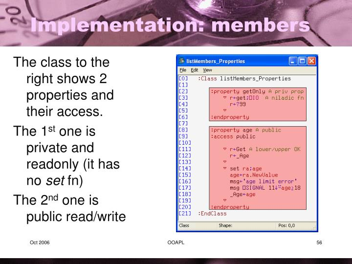 Implementation: members
