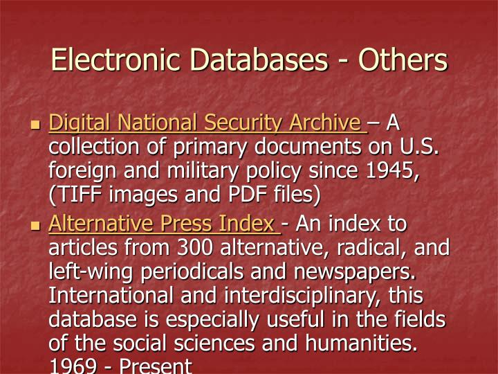 Electronic Databases - Others