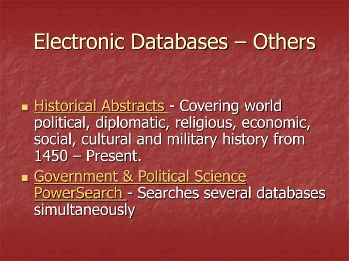 Electronic Databases – Others