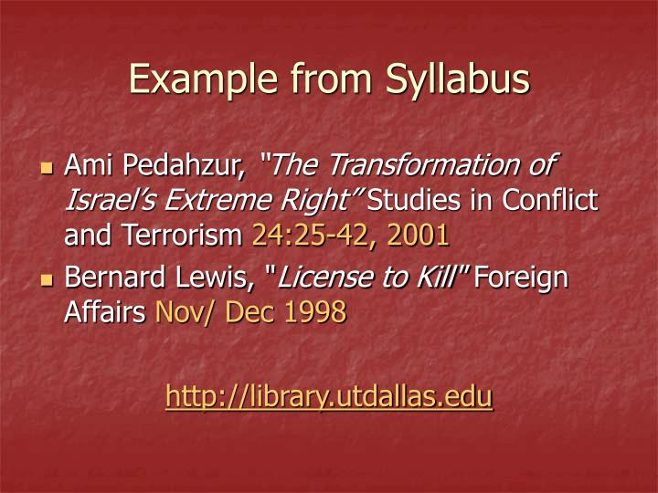 Example from Syllabus