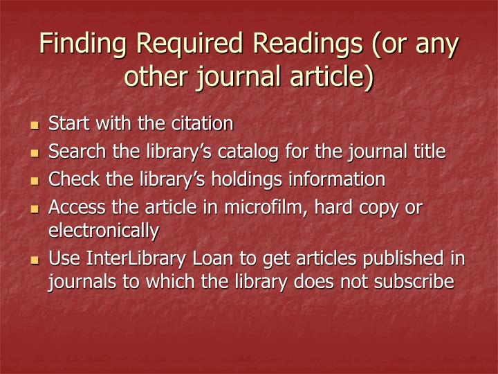 Finding Required Readings (or any other journal article)