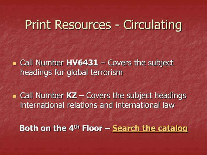 Print Resources - Circulating