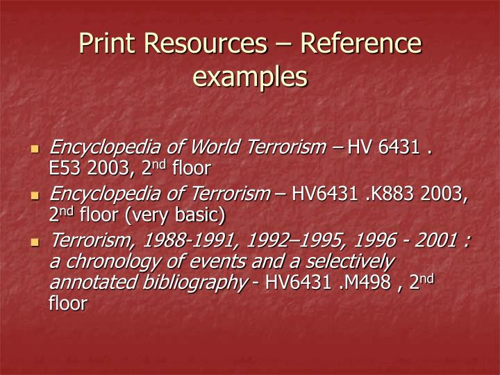 Print resources reference examples