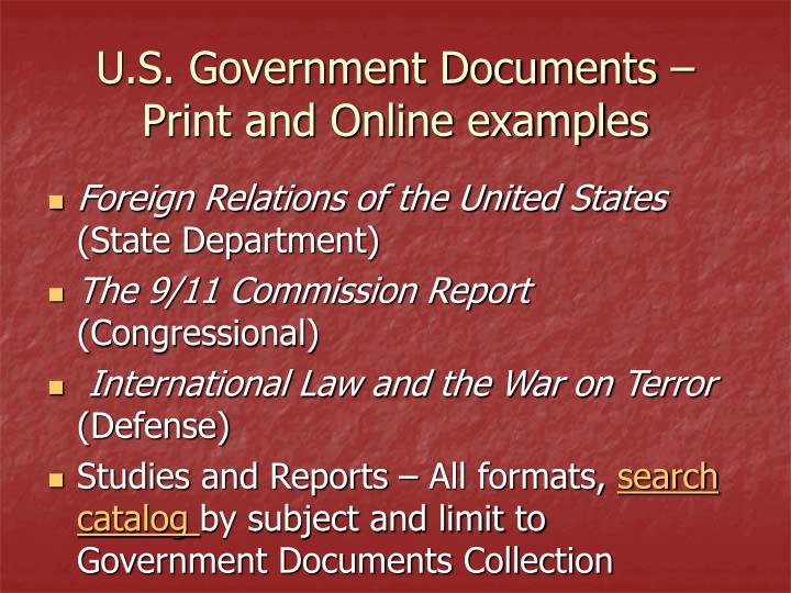 U.S. Government Documents – Print and Online examples