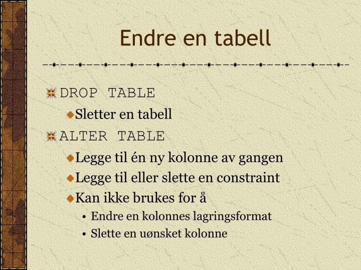 Endre en tabell