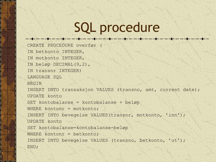 SQL procedure