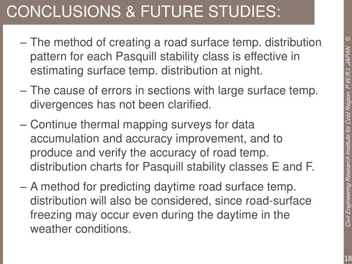 CONCLUSIONS & FUTURE STUDIES: