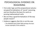 psychological evidence on reasoning