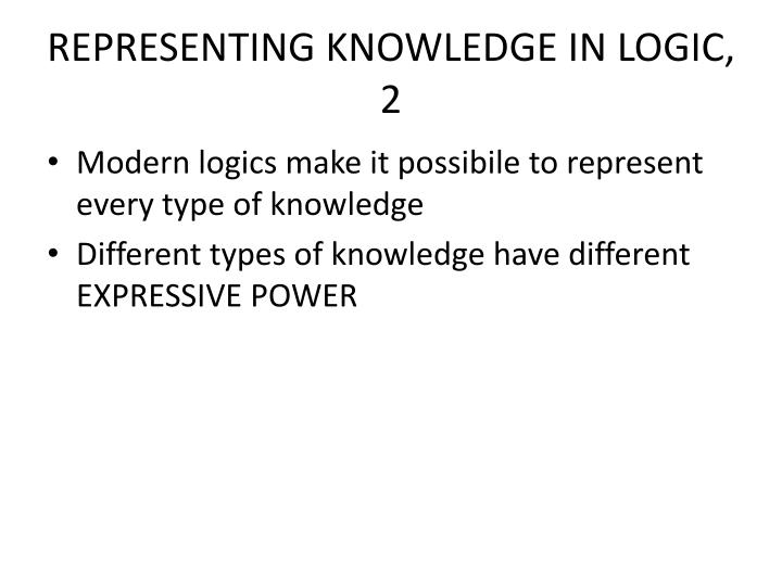 REPRESENTING KNOWLEDGE IN LOGIC, 2