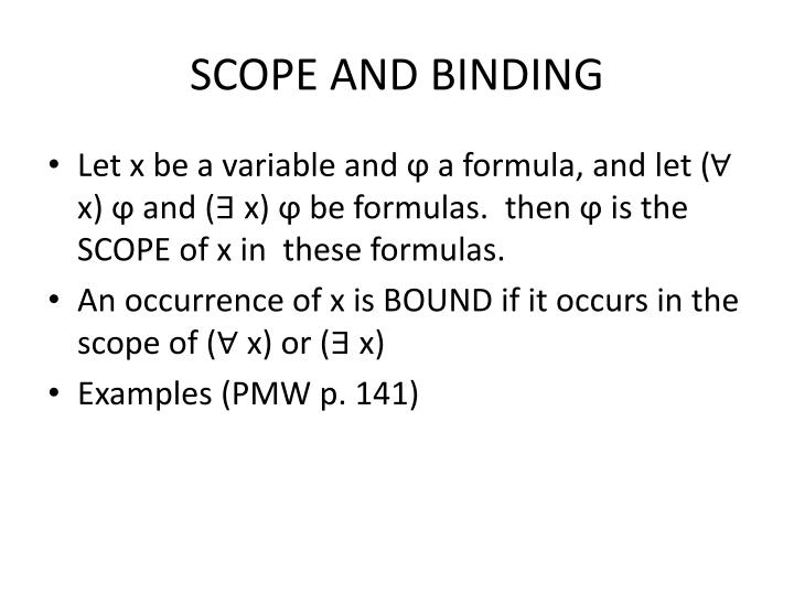 SCOPE AND BINDING