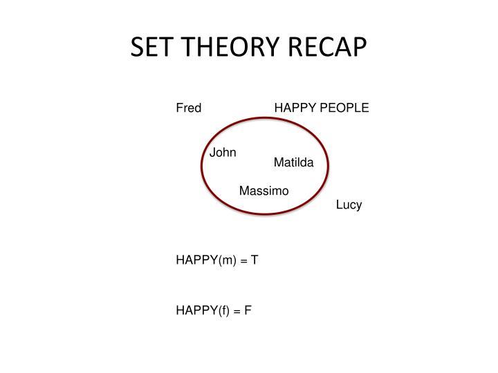 SET THEORY RECAP