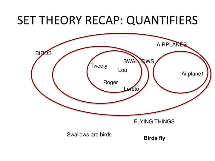 SET THEORY RECAP: QUANTIFIERS
