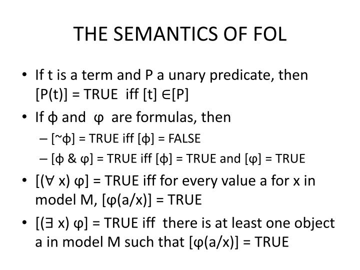 THE SEMANTICS OF FOL