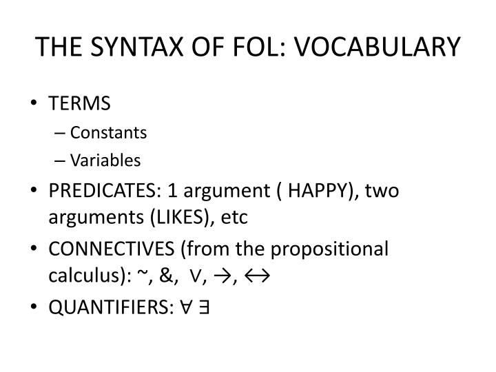 THE SYNTAX OF FOL: VOCABULARY