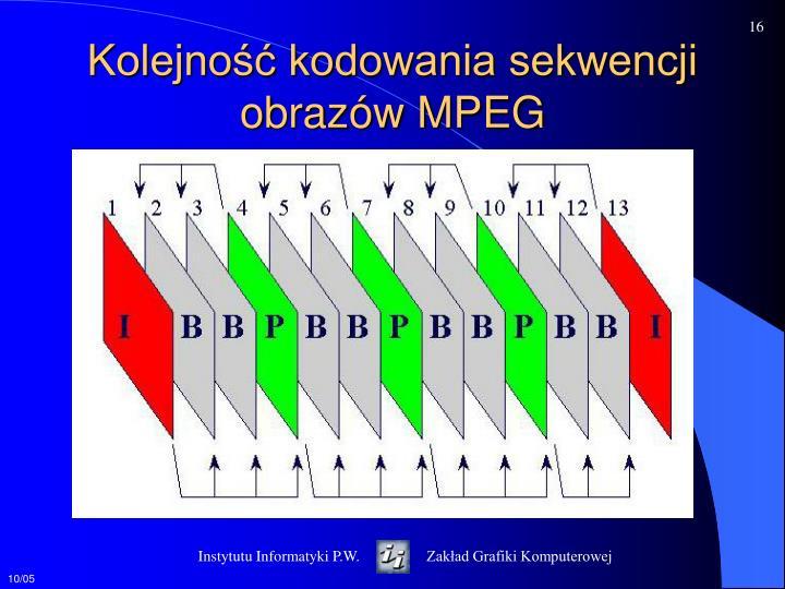 Kolejność kodowania sekwencji obrazów MPEG