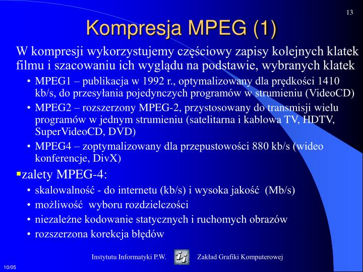 Kompresja MPEG (1)