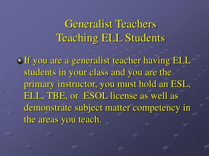 Generalist Teachers