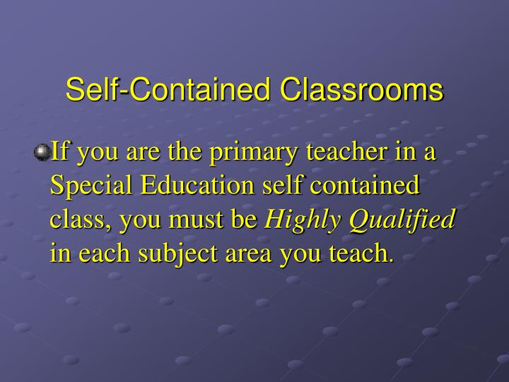 Self-Contained Classrooms