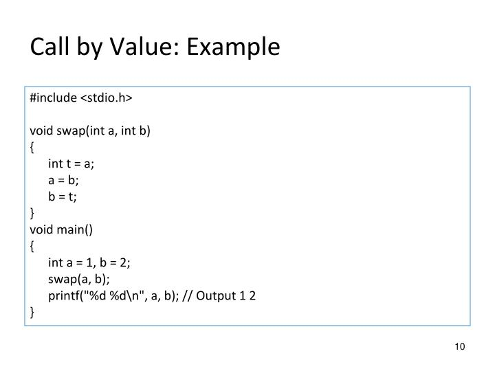 Call by Value: Example