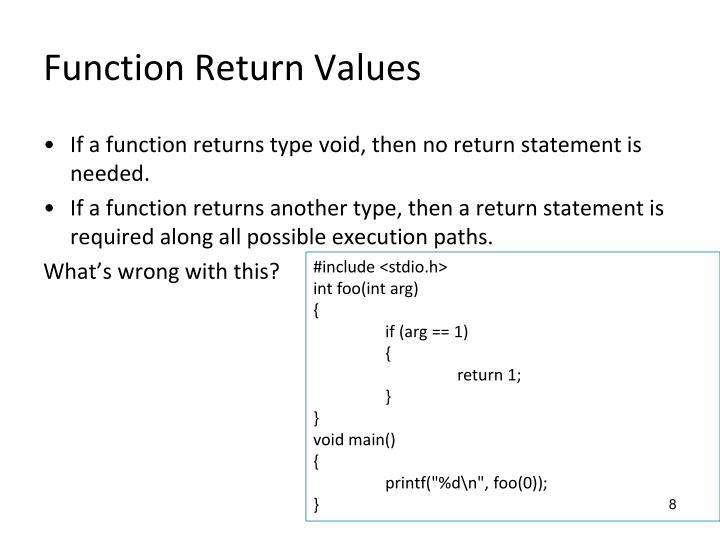 Function Return Values